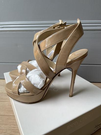 Jimmy Choo nude patent platform sandals size 35.5 rrp£595