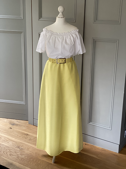 Vintage silk (?) maxi yellow skirt with belt UK6-10