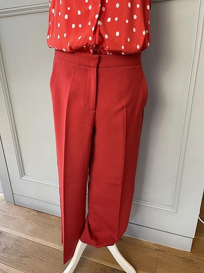 Red LK Bennett cropped wool blend trousers. Uk10 rrp£150