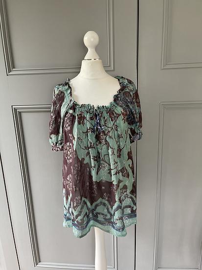 Paul & Joe green and purple metallic blouse UK 10