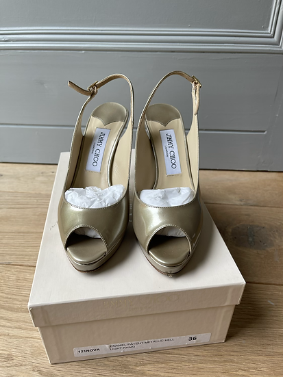Jimmy Choo metallic platforn heels size 36 rrp £595