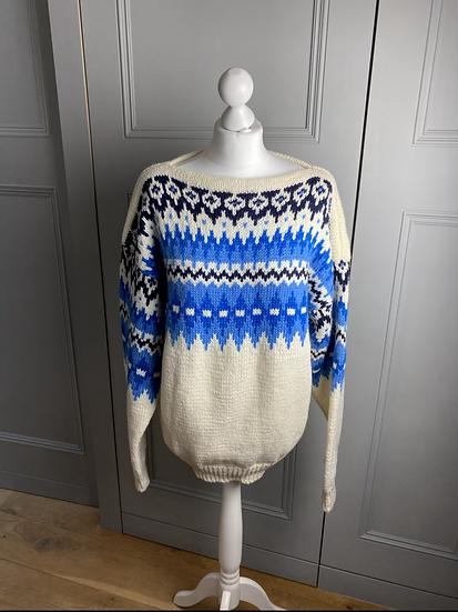 Vintage wool blue/cream Nordic jumper L/XL