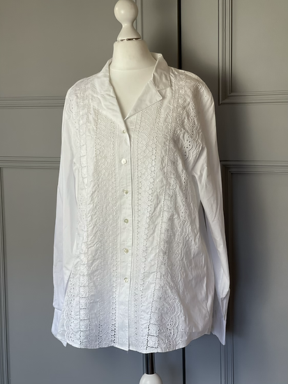 Wite cotton broderie angliase shirt UK 16