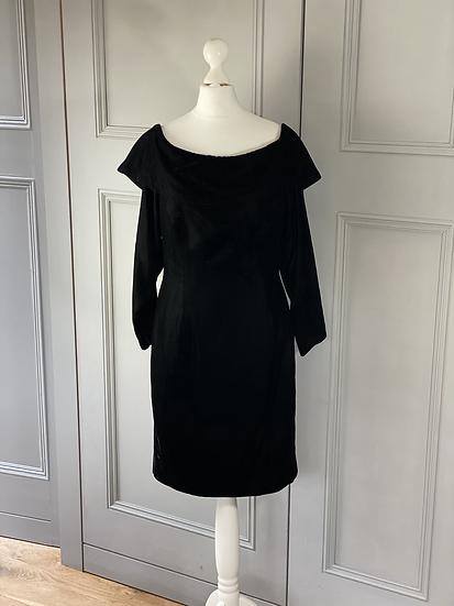 Vintage 50/60s black velvet dress. Uk12