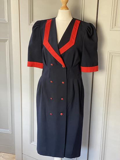 Vintage 80s wiggle style navy/red dress. Uk10