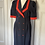 Thumbnail: Vintage 80s wiggle style navy/red dress. Uk10