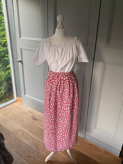 REDUCED>>>>>>Vintage 80s wrap skirt in dark pink/white UK 8-10