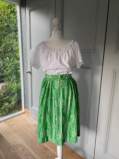 Vintage Abercrombie & Fitch green/white midi skirt (UK 8/10)