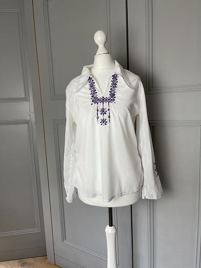 Vintage white embroidered shirt UK8-10