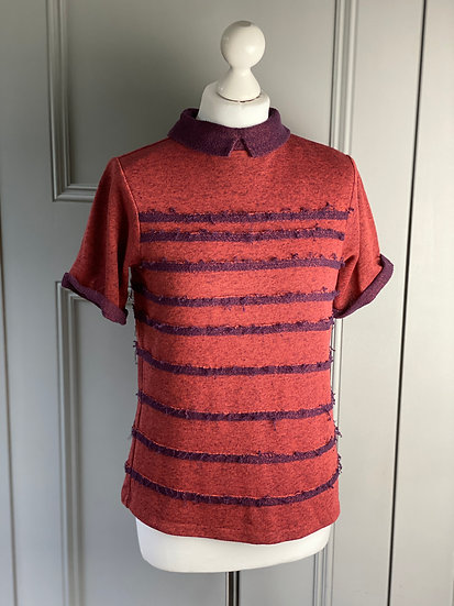 TWENTY8TWELVE Short sleeved collared frayed design sweater (M)