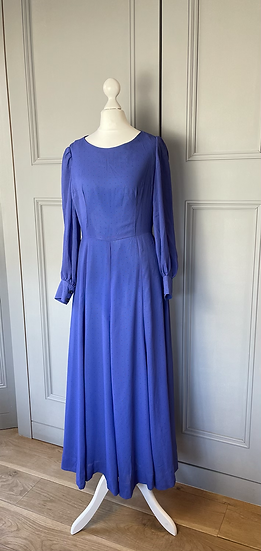 80s Purple chiffon maxi dress with bell sleeves. Uk8/10