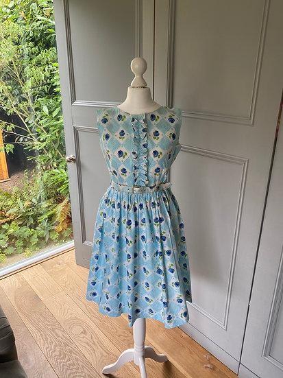 Vintage 1950s blue cotton floral dress UK 6/8/10