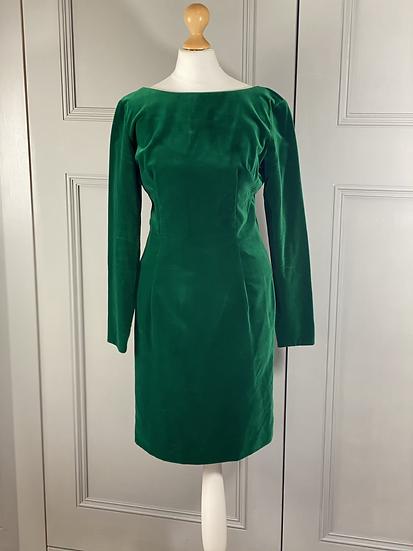 Vintage green velvet shift dress 8/10
