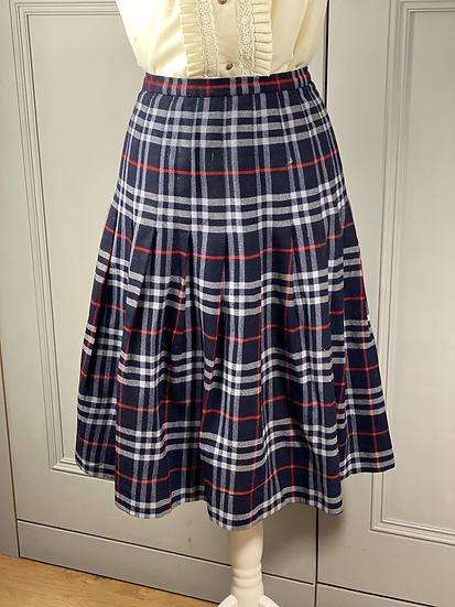 Vintage Burberry wool navy/red pleated skirt UK10/12