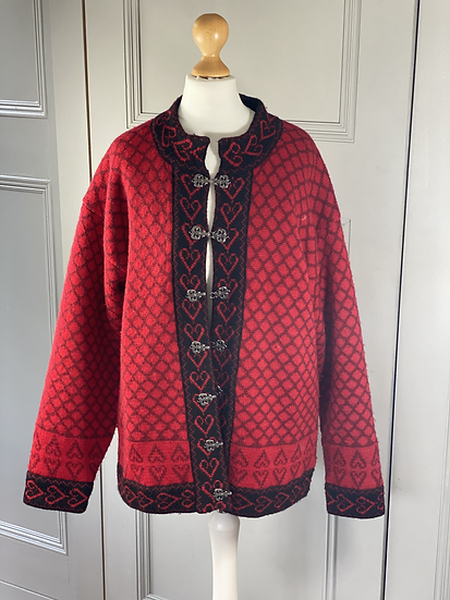 Vintage Norwegian red wool/black heart cardigan.  L/XL