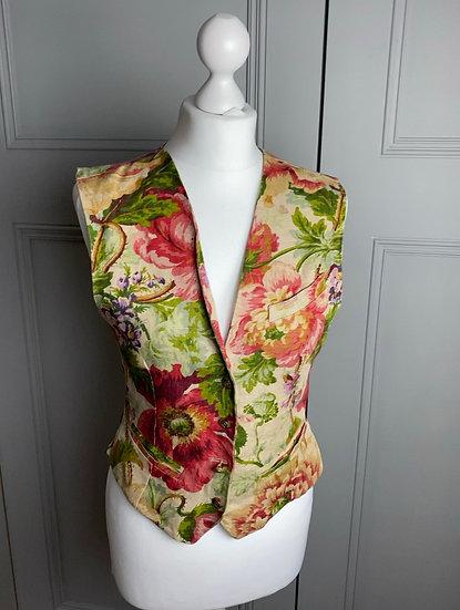 Vintage MULBERRY floral waistcoat UK10