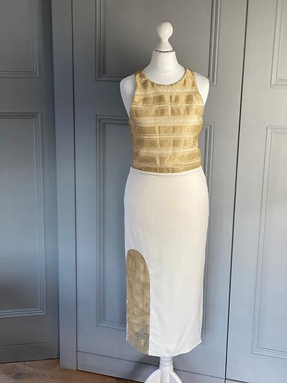 Haney cream & gold dress UK6-8