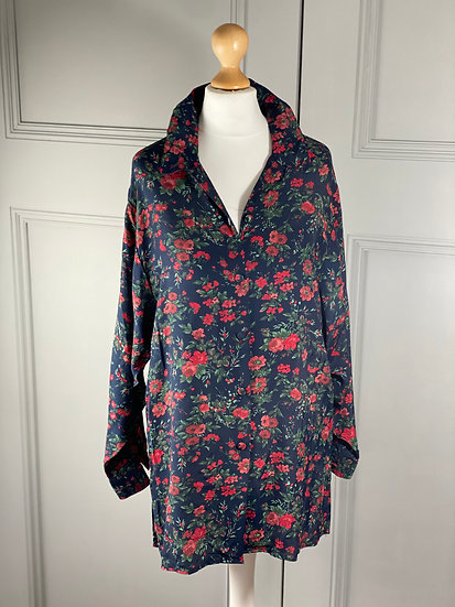 Vintage Laura Ashley navy/red floral silky shirt UK8/12
