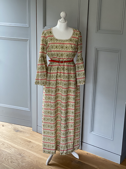 Vintage 70's cream patterned maxi dress UK10-12