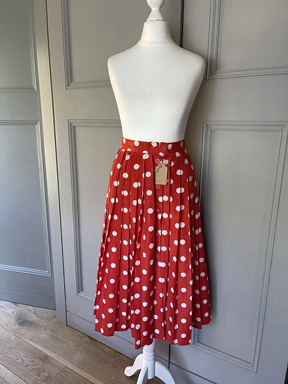 Vintage Red polka dot pleated skirt Uk 6