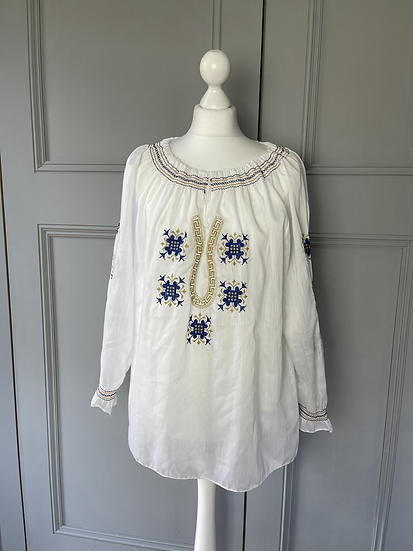 White embroidered shirred navy/gold blouse. 12-16
