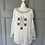 Thumbnail: White embroidered shirred navy/gold blouse. 12-16