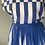 Thumbnail: Vintage 80s blue/white two piece top/skirt UK6-8