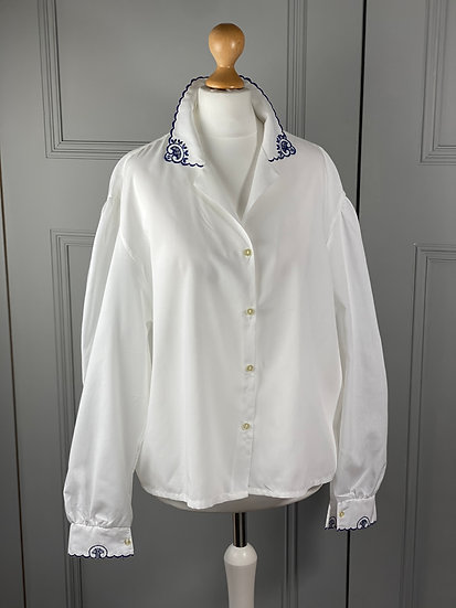 Vintage white shirt with blue scalloped embroidered collar and cuffs. UK12/16