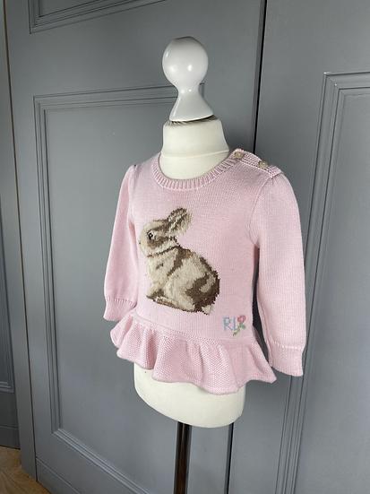 Ralph Lauren baby girls pink bunny jumper 12-24mths
