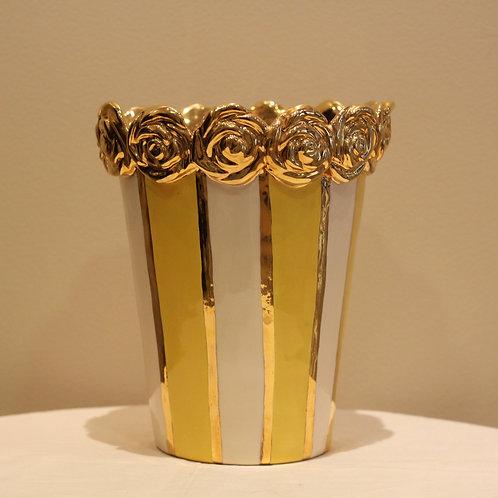 Roses vase medium striped