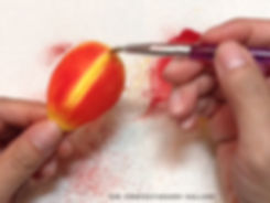 The Confectionery Gallery Blog | Studying a Tulip to Recreate in Sugar - variegated red orange yellow tulip gumpaste petal dusting with inner petal ridge detail