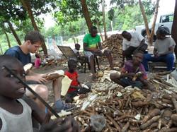 Epluchage de manioc