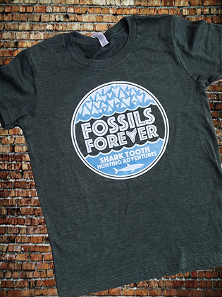 Youth Fossils Forever Logo Tshirt - FOREST GREEN