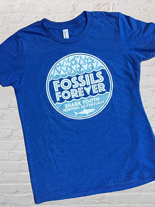 Youth Fossils Forever Logo Tshirt - ROYAL BLUE