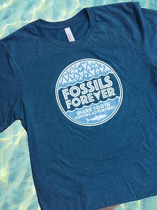 Adult Fossils Forever Logo Tshirt - DEEP TEAL