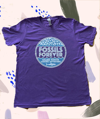 Youth Fossils Forever Logo Tshirt -PURPLE