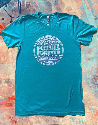 Adult Fossils Forever Logo Tshirt - SEAFOAM