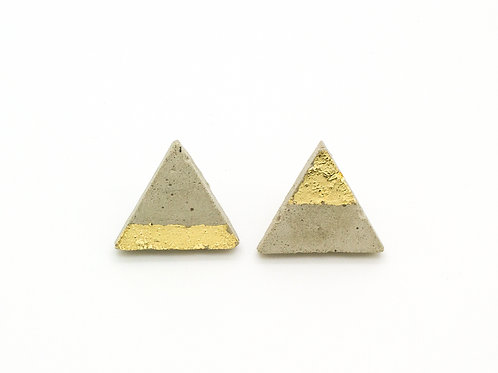 Concrete Triangle Studs with Gold