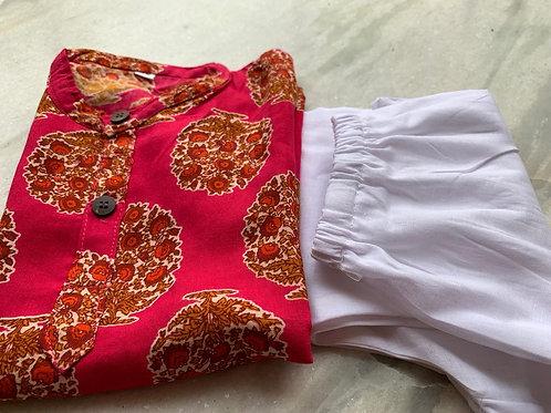Pink Kurta with motifs and pajyama