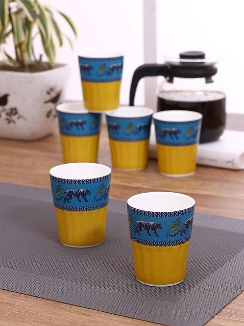 Yellow Blue Elephant Chai Glass