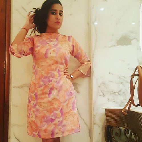 Pink bell sleeves dress