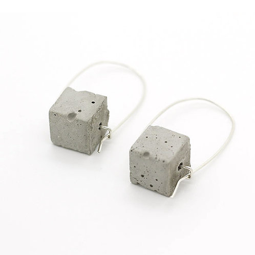 Concrete Cube Bead-Silver Drop Earrings