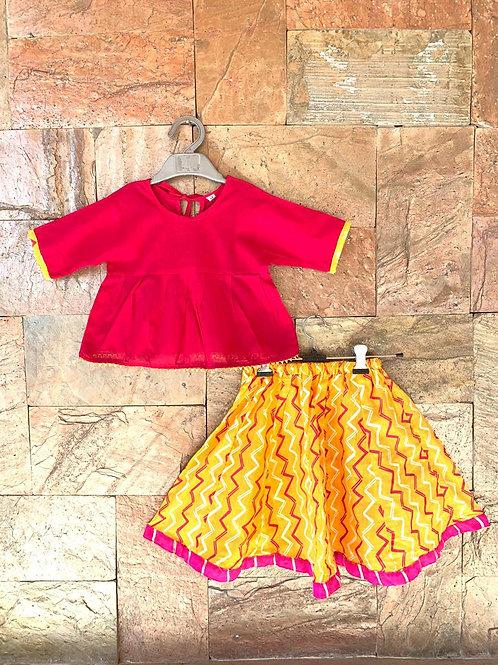 Red Yellow Lehenga set