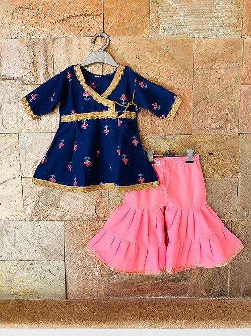 Blue Pink Sharara Set