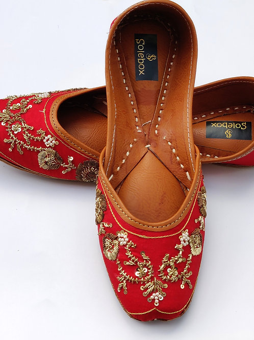 Red zardosi leather