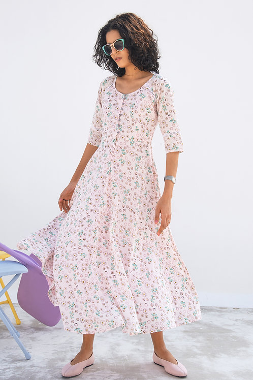 PINK ONION FIT & FLARE DRESS