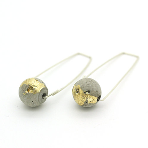 Concrete Bead with Gold-Silver Drop Earrings