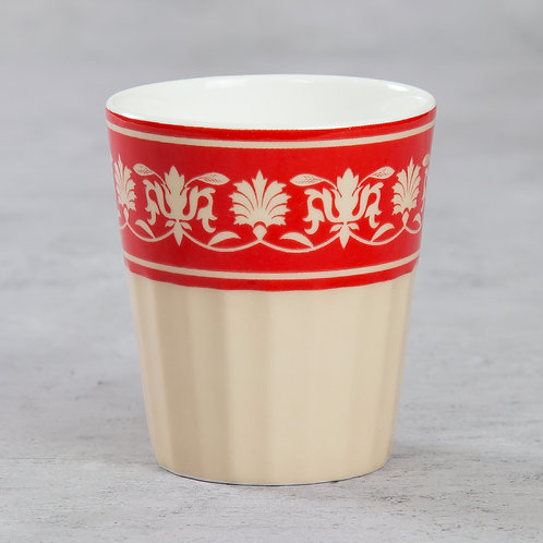 Red Cream Flower Chai Glass