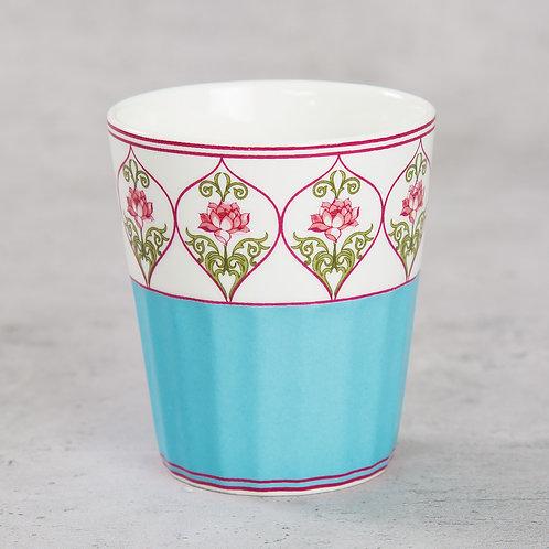 Turq. Floral Chai Glass