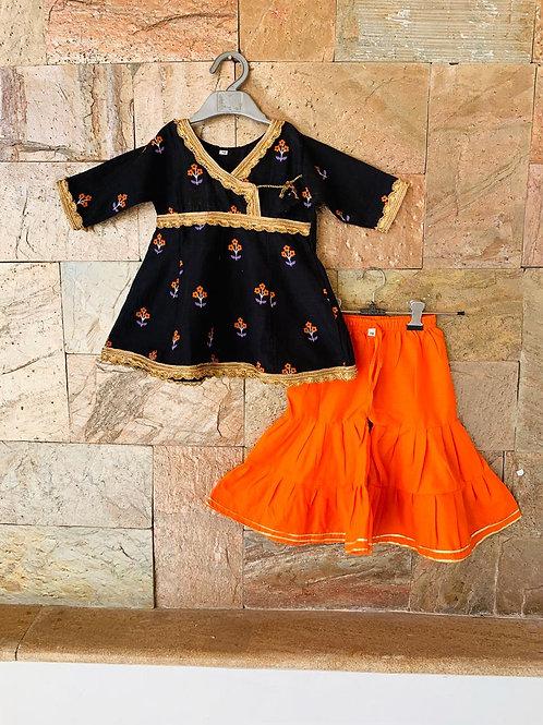 Black Orange  Sharara Set